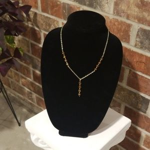 Gold Link Necklace with Brown Beads